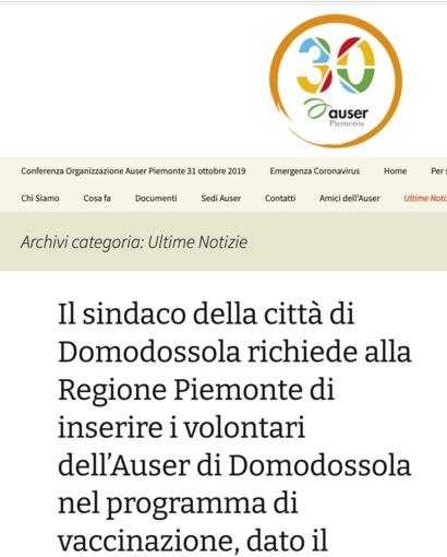 Volontari dell'Auser saranno vaccinati grazie all'intervento del sindaco di Domodossola