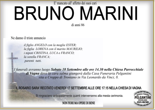 Bruno Marini di anni 86