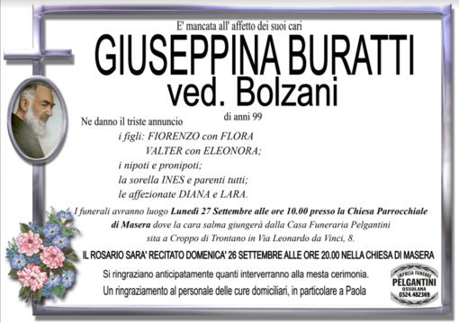 Giuseppina Buratti ved. Bolzani di anni 99
