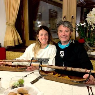La campionessa Marta Bassino a Livigno con lo skiman ossolano Gianluca Petrulli per preparare il finale di stagione