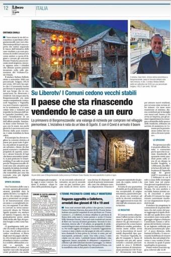 La pagina del quotidiano Libero dedicata  a Borgomezzavalle