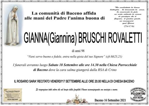 Gianna (Giannina) Bruschi Rovaletti di anni 98